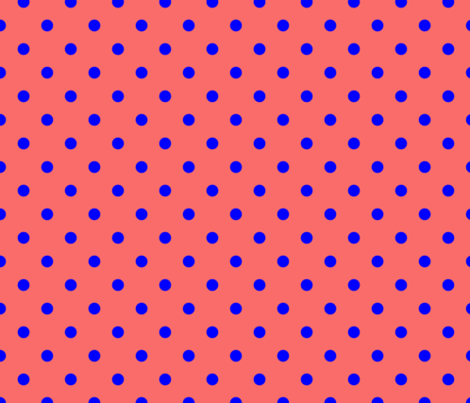 Royal Blue Polka Dots on Salmon fabric by paper_and_frill on Spoonflower - custom fabric