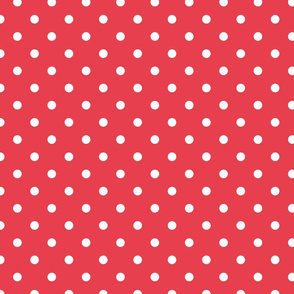 Coral and White Polka Dots