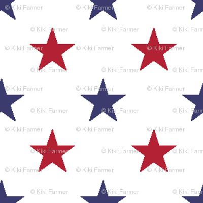 USA Flag Red and Flag Blue Stars on Flag White