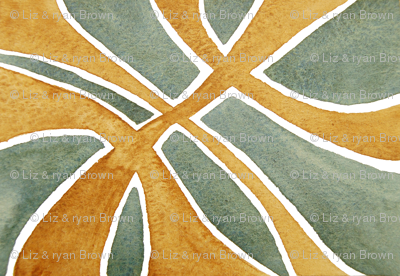Yellow Rust and Sea Green Watercolor