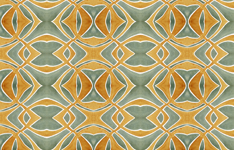 Yellow Rust and Sea Green Watercolor fabric by thinlinetextiles on Spoonflower - custom fabric