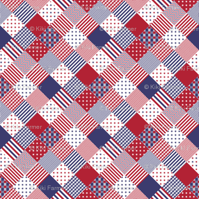 USA Americana Patchwork Red White & Blue Quilt Patterns fabric ... : red and blue quilt - Adamdwight.com