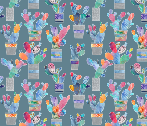 Watercolor Cactus - steel blue background fabric by emeryallardsmith on Spoonflower - custom fabric