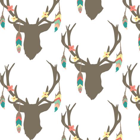 Feathered Deer Antlers fabric by hudsondesigncompany on Spoonflower - custom fabric