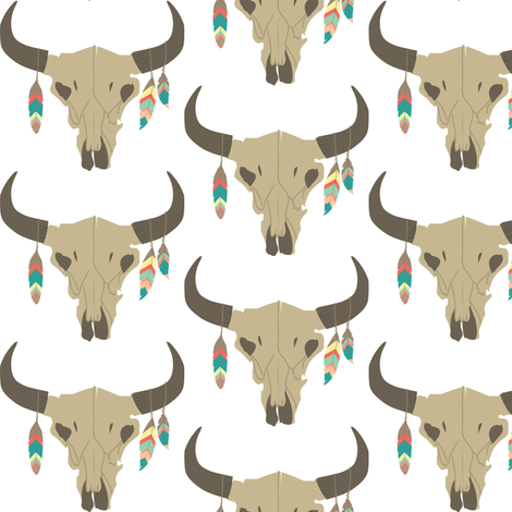 Cow Skull with Feathers fabric by hudsondesigncompany on Spoonflower - custom fabric