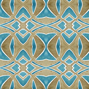 Dusty Brown and Lake Blue Watercolor Pattern