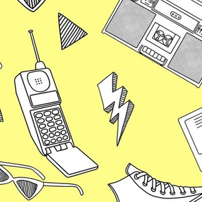 90s Life // 90s Style Illustrations on Fabric, Wallpaper & Gift Wrap // Black and White Illustrations on Yellow