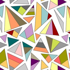 triangles in multicolor with white background