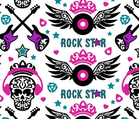 Rock Star White fabric by mariafaithgarcia on Spoonflower - custom fabric