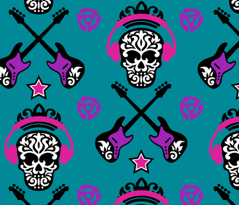 Rock Star Turquoise fabric by mariafaithgarcia on Spoonflower - custom fabric