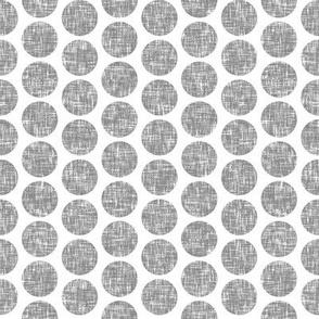 Gray tweedy linen weave polka dots on white by Su_G