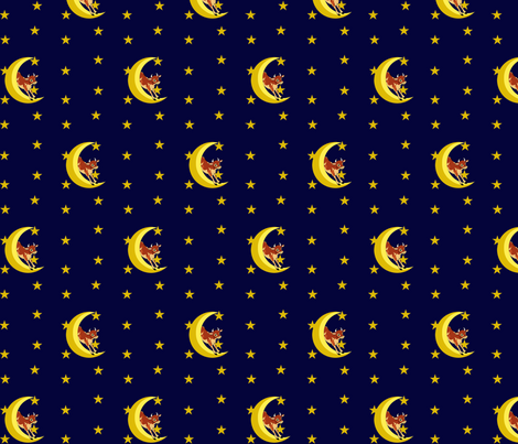 Over the Moon - Jumping Cows Mini Print fabric by december_rose on Spoonflower - custom fabric
