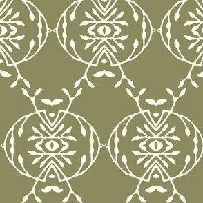 Leafy Vines in Cream Over Green