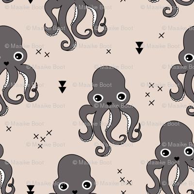 Adorable octopus squid fish geometric ocean theme under water deep sea paradise gender neutral