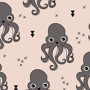 Adorable octopus squid fish geometric ocean theme under water deep sea paradise gender neutral