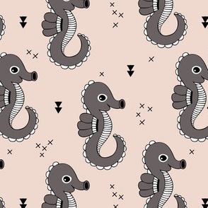 Sea horse baby geometric ocean sea life illustration design gender neutral beige