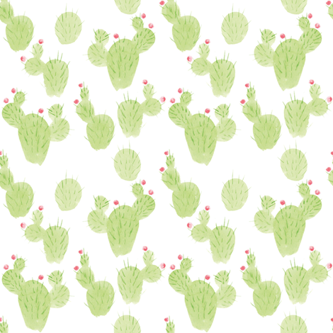 flowering cacti fabric by ruth_robson on Spoonflower - custom fabric