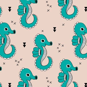 Sea horse baby geometric ocean sea life illustration design gender neutral beige and blue