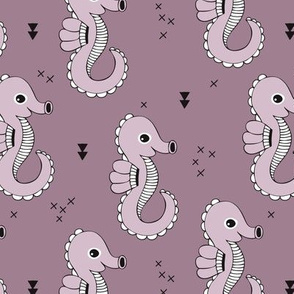 Sea horse baby geometric ocean sea life illustration design violet purple