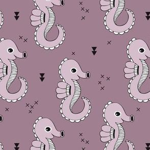 Sea horse baby geometric ocean sea life illustration design violet purple