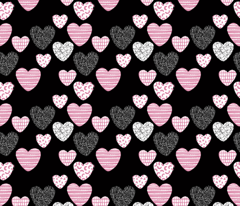 Big love geometric hearts valentine and wedding theme for romantic lovers black pink fabric by littlesmilemakers on Spoonflower - custom fabric