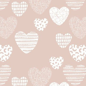 Big love geometric hearts valentine and wedding theme for romantic lovers gender neutral soft beige