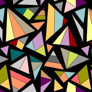 triangles in multicolor on black background