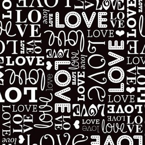 Sweet love text design romantic valentine typography print in black and white gender neutral