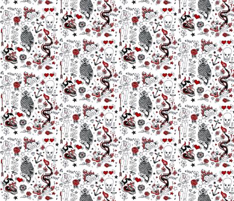 Tattoo  fabric by jodyvanb on Spoonflower - custom fabric