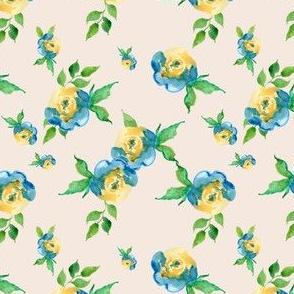 Blue Roses Ivory - Floral Print