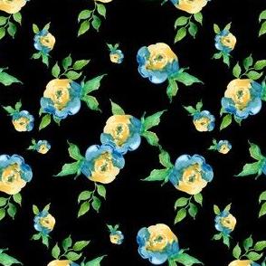 Blue Roses Black - Floral Print