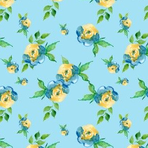 Blue Roses Light Blue - Floral Print