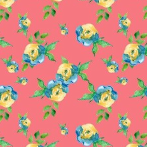 Blue Roses in Coral - Floral Print