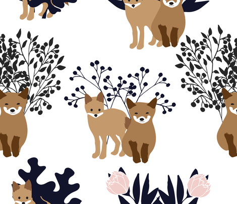 foxes and flora blue fabric by vieiragirl on Spoonflower - custom fabric