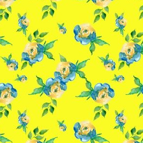 Blue Roses Bright Yellow - Floral Print