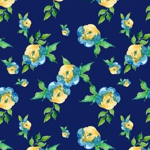 Blue Roses Dark Blue - Floral Print