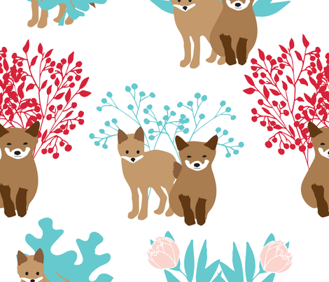 foxes-and-flora-brights fabric by vieiragirl on Spoonflower - custom fabric