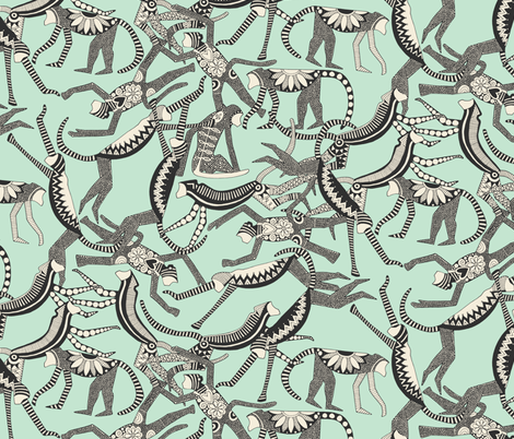 monkey mint fabric by scrummy on Spoonflower - custom fabric