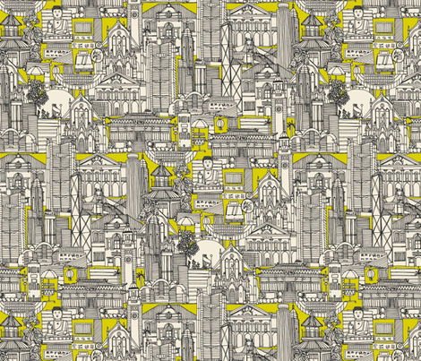 Hong Kong toile de jouy chartreuse fabric by scrummy on Spoonflower - custom fabric