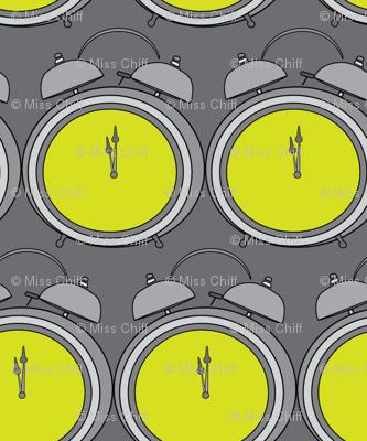 Vintage Alarm Clocks Midnight    Time Slate Gray Grey Yellow Lime Green_Miss Chiff Designs