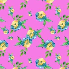 Blue Roses Pink - Print Floral