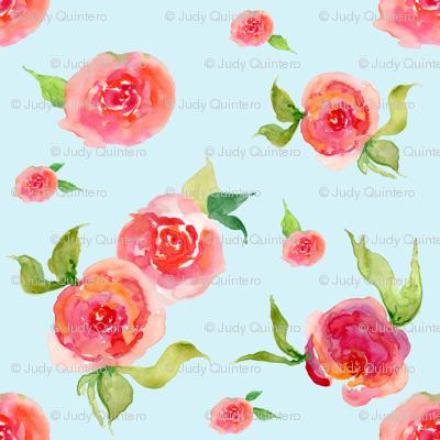 Red Roses Light Blue - Floral Print