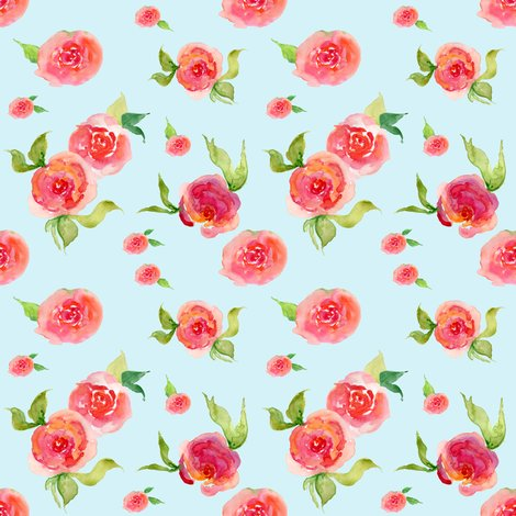 Red roses light blue floral print fabric shopcabin - Light blue linen wallpaper ...