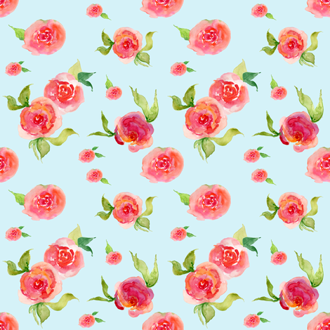 Red Roses Light Blue - Floral Print fabric by shopcabin on Spoonflower - custom fabric