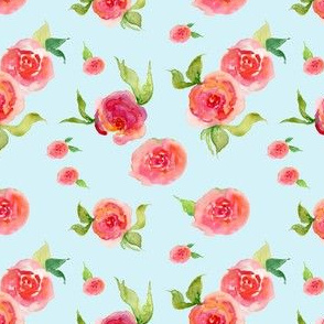 Red Roses Light Blue - Floral Print