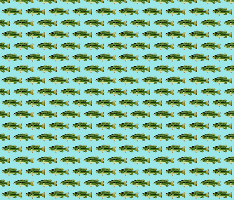 Largemouth Bass in blue fabric by combatfish on Spoonflower - custom fabric