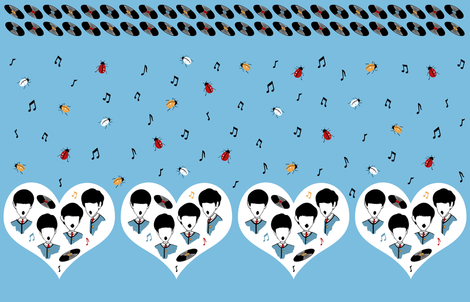 Beatles Love Music Novelty Border Print fabric by cantobellus on Spoonflower - custom fabric