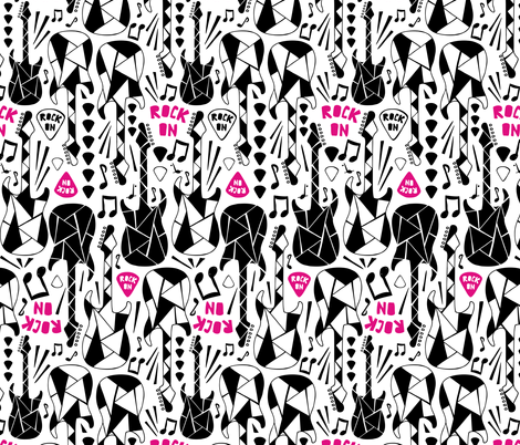 Rock On Girl - Guitars Music fabric by heatherdutton on Spoonflower - custom fabric