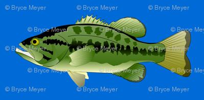 Largemouth Bass in dark blue