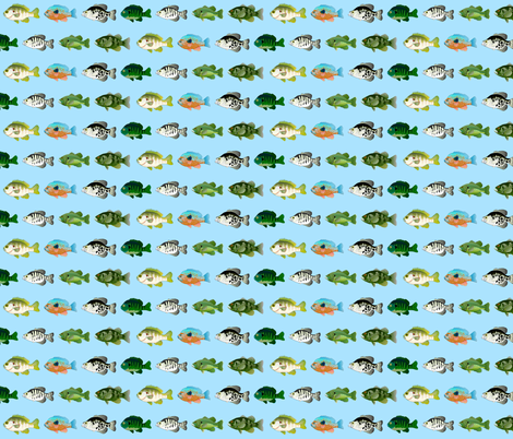 Seven Sunfish pattern in blue fabric by combatfish on Spoonflower - custom fabric